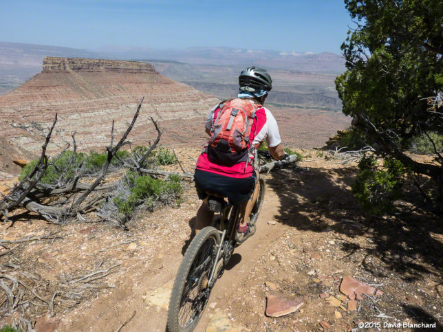 Riding the rim of Gooseberry Mesa on Gander Trail.