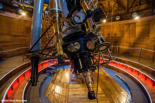 "The ""business end"" of the Clark Telescope with dials and finder scopes for alignment."