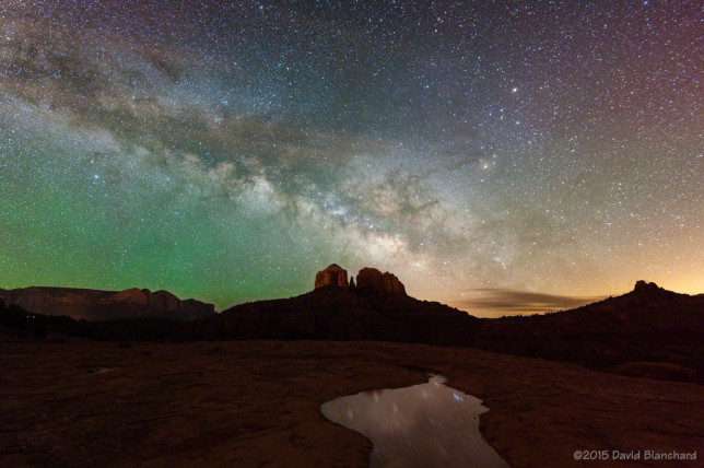 The Milky Way rises above Cathedral Rock in Sedona.
