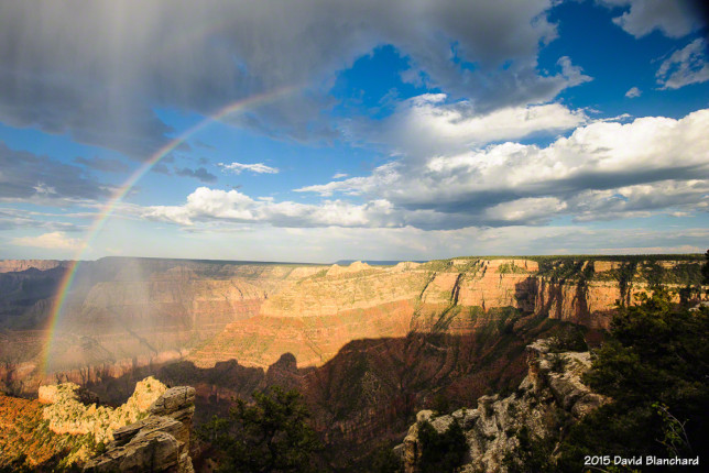 A partial rainbow over the Grand Canyon.