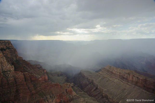Rain showers sweeping across Grand Canyon.