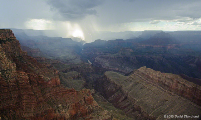 Lightning strikes in Grand Canyon.