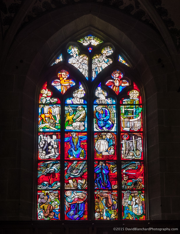Stained glass windows in the Berner Münster.