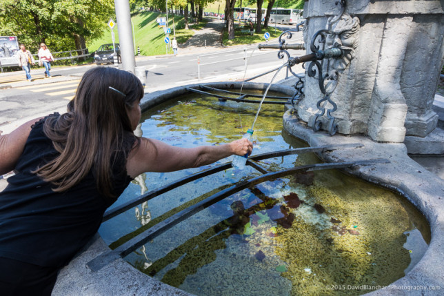 You can fill your water bottle from the many fountains in the city.