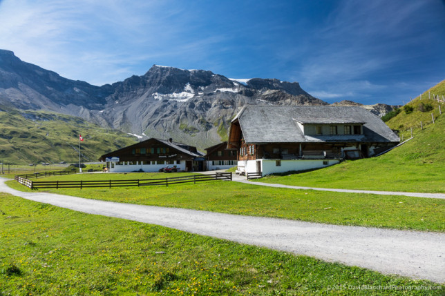 Brilliant blue skies and green grass greet us at Engstligenalp.