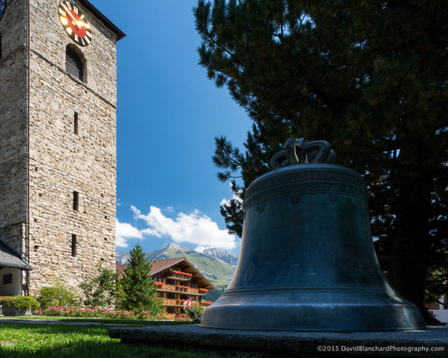 Church bell and clock tower.