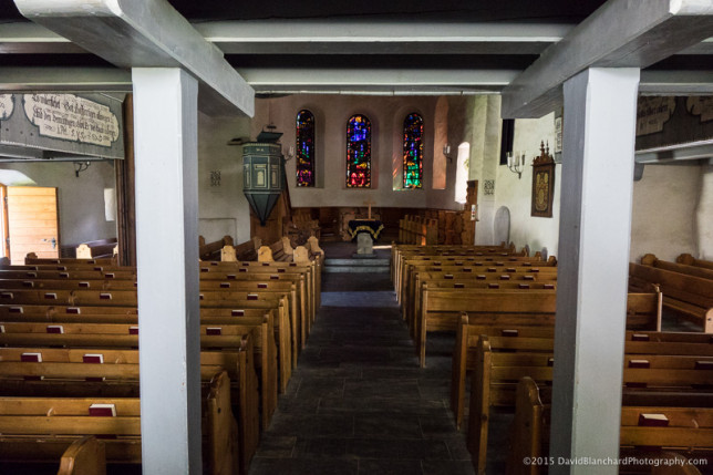 Interior and stained glass in the Village Church of Adelboden.