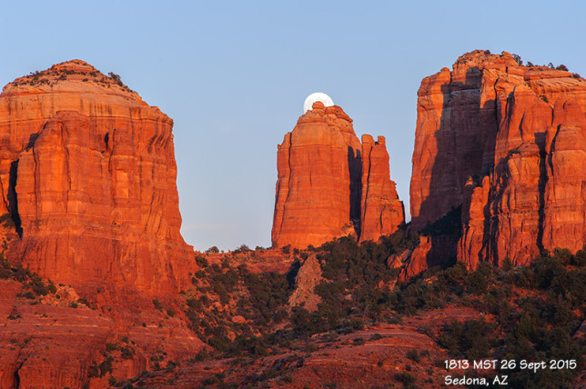 Just a few minutes later, the moon is about to rise above the central spires of Cathedral Rock.