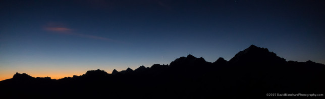 Venus rising above the mountains in the morning twilight.