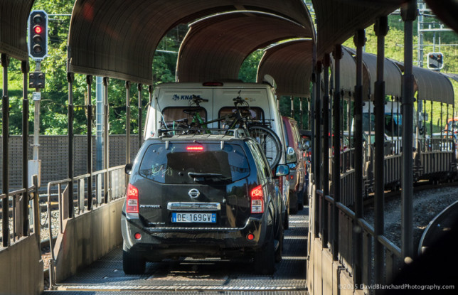 Loading vehicles on to the train.