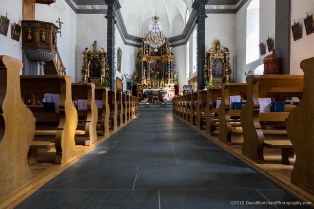 Interior of Kippel village church.