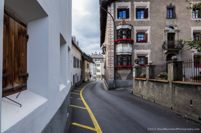 A narrow section of Via Maesta (Main Street) in Pontresina, Graubünden, Switzerland.