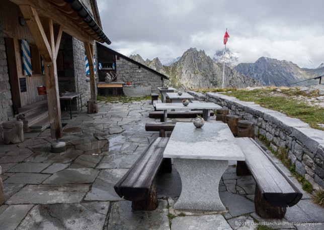 The outdoor deck at Capanna da l'Albigna. We won't be using it today.