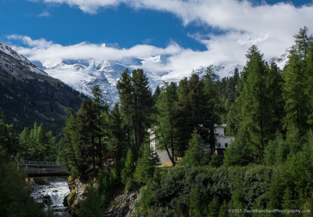 With clear skies we can finally see the summits of the Bernina Alps.