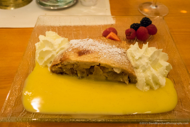 Apfelstrudel with vanilla sauce and cream served at the Engadinerhof Ristorante.