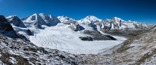 Piz Palü and Piz Bernina with Vadret Pers in the foreground and Vadret da Morteratch on the right.