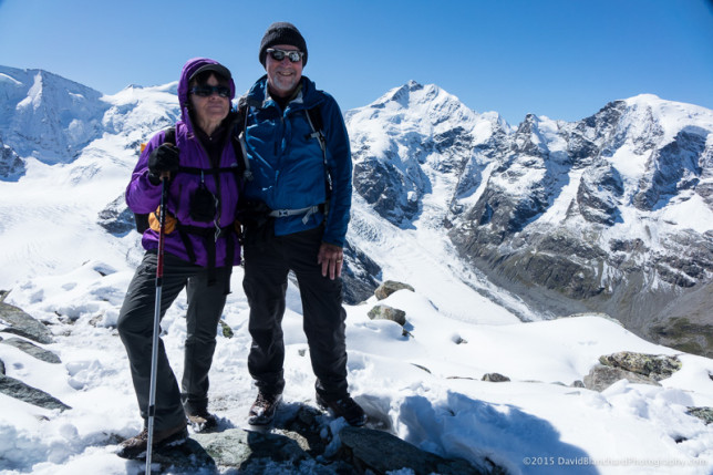 On the summit of Munt Pers with Piz Palü to the left and Piz Bernina to the right.