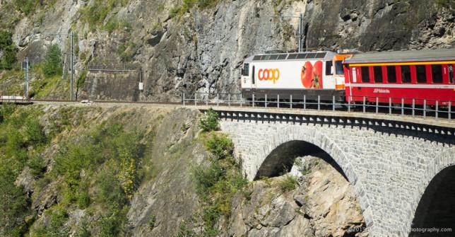 Advertising on train locomotives.