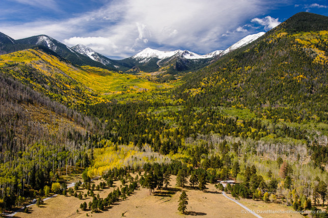 Groves of aspen blanket Lockett Meadows and the Inner Basin.