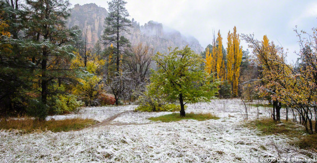 Clouds swirl around the cliffs of Oak Creek Canyon as a light dusting of snow covers the canyon floor.