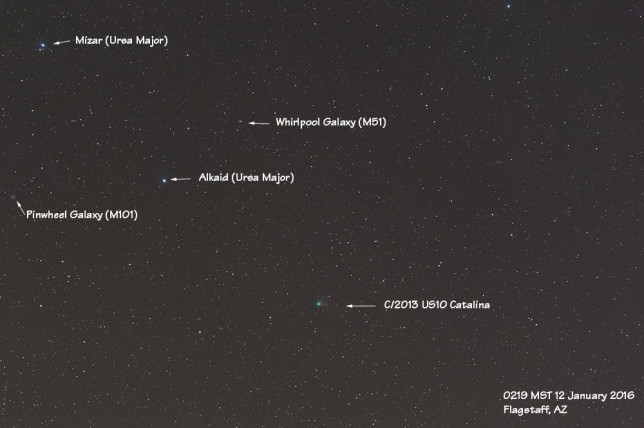 C/2013 US10 (Catalina) moving past stars in the Big Dipper handle and a couple of galaxies (12 January 2016).