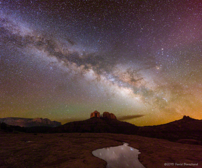 Milky Way rises above Cathedral Rock in Sedona, Arizona.