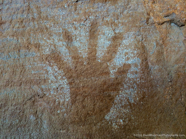 Ancient rock art on canyon walls.