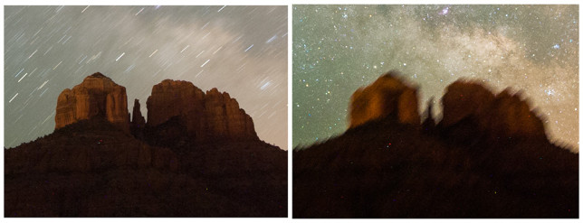 Long exposure without tracking (left) and with tracking (right).