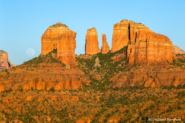 Moonrise near Cathedral Rock, Sedona, Arizona.