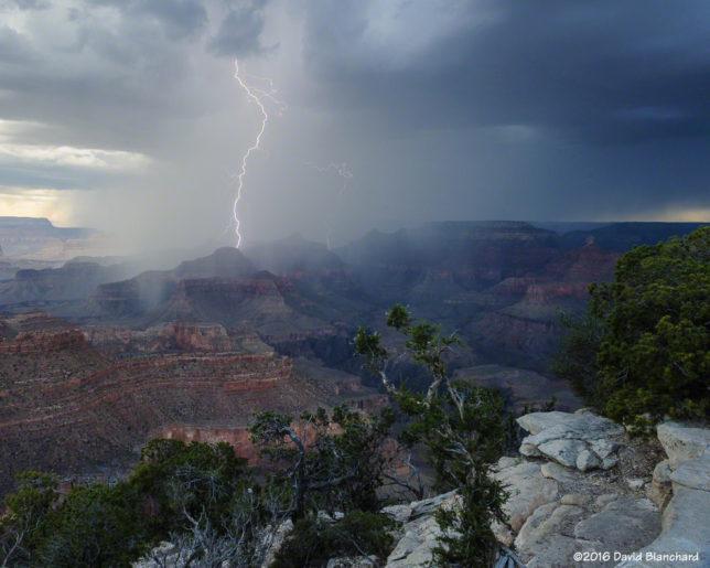 Lightning and heavy rain, Grand Canyon.