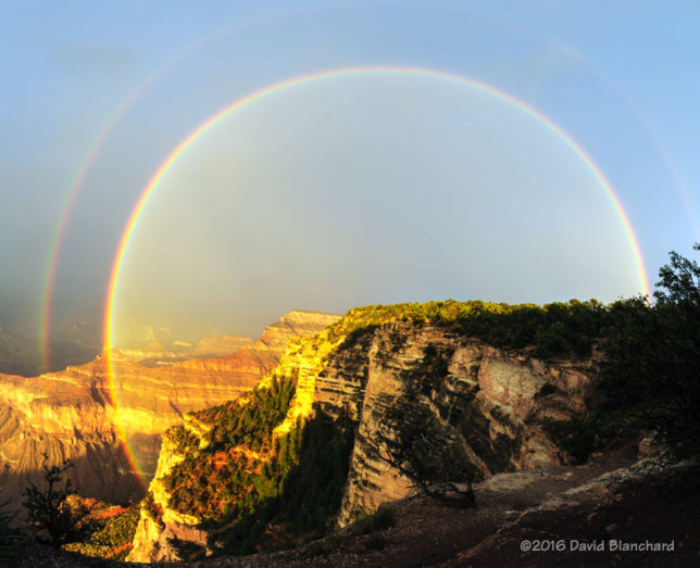 Rainbow over Grand Canyon.