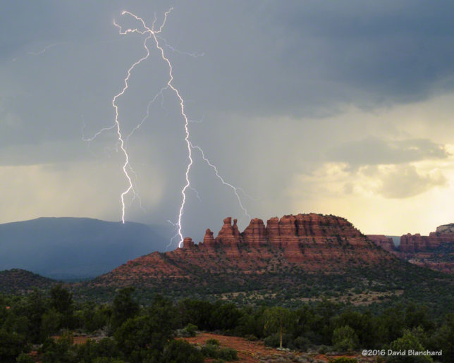 Lightning behind Cockscomb, Sedona, Arizona.