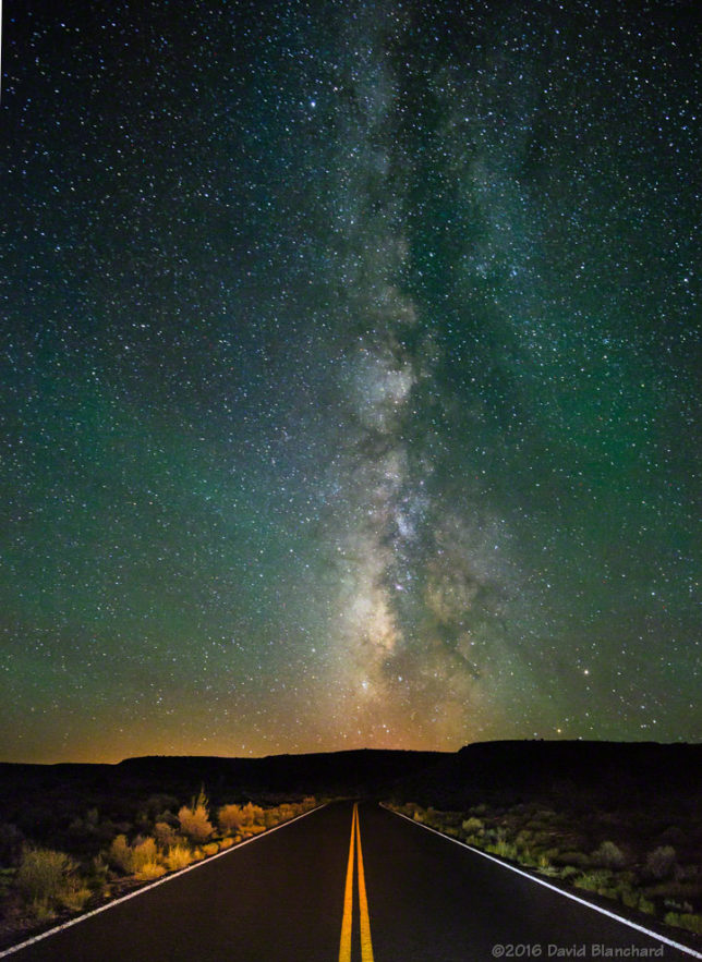 Road to the Stars. The Milky Way stands above an Arizona road.