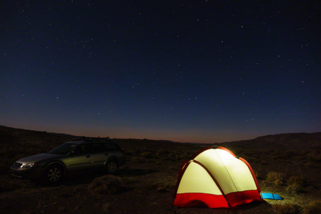 "Car camping near <a href=""https://en.wikipedia.org/wiki/Boundary_Peak_(Nevada)"" target=""_blank"">Boundary Peak</a> in the Nevada desert. This was the peak night of the Perseid meteor shower and the dark skies resulted in a great show."