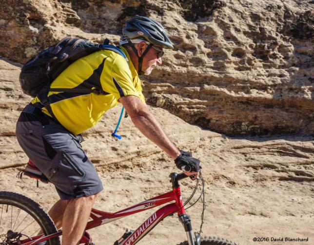 Riding slick rock on Gooseberry Mesa, Utah.