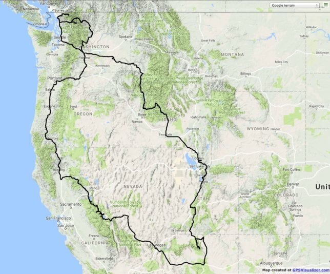 Our route across the western states.