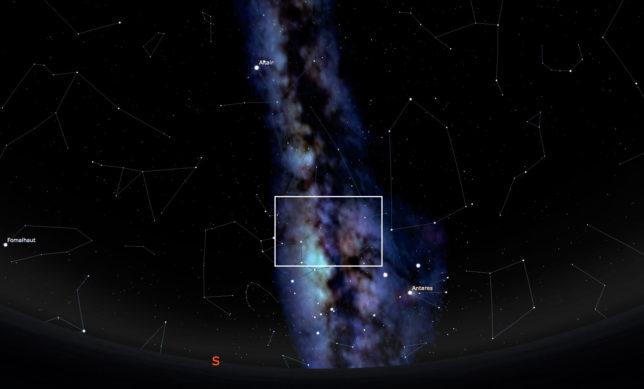 Screen capture from Stellarium showing Milky Way.
