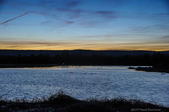 Venus and Mercury in the evening twilight above the Kachina Wetlands. Venus can be seen just to the right of center of the image; Mercury is left of center.
