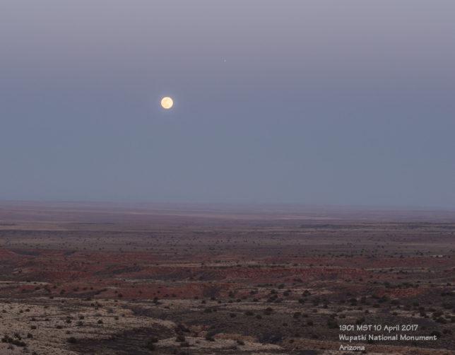 Moon and Jupiter rising above Wupatki National Monument.