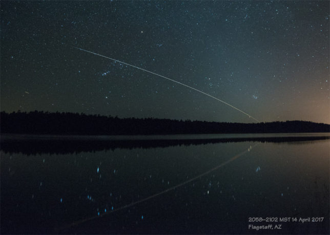 ISS transiting the western sky.