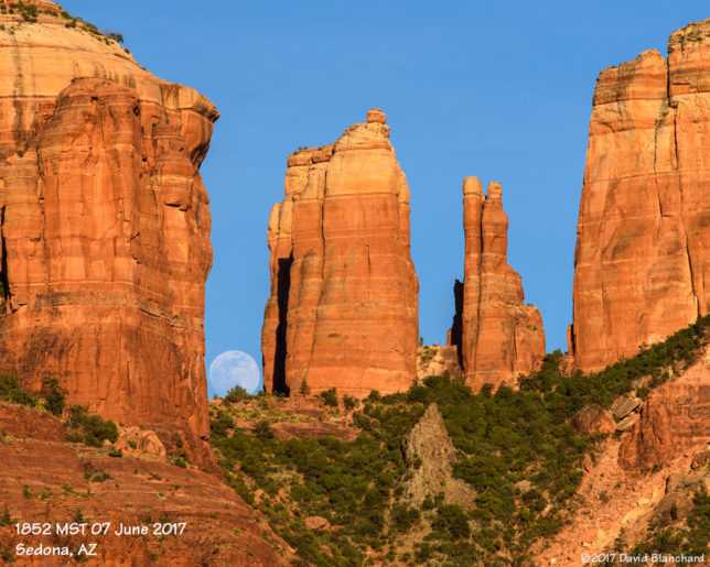 Moon rise behind Cathedral Rock, Sedona, Arizona.