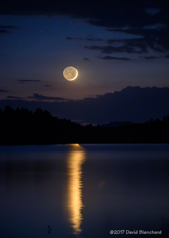 Moon and reflection in Lake Mary.