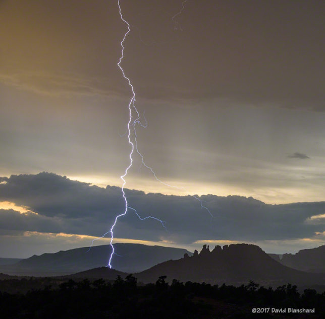 Sunset lightning in Sedona, Arizona.
