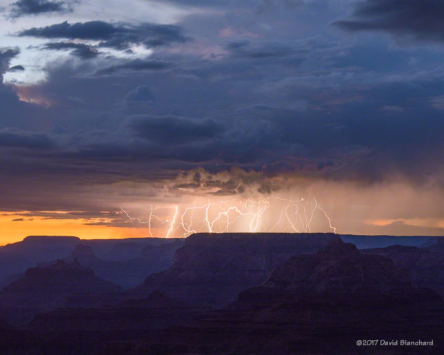 Evening thunderstorms and lightning over Grand Canyon.