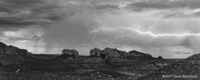 Lightning over Cathedral Rock, Sedona, Arizona.