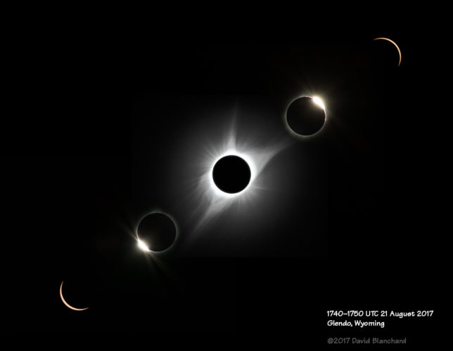 Composite image from 1740–1750 UTC. The totality image is a blended composite of two images at different exposure settings.