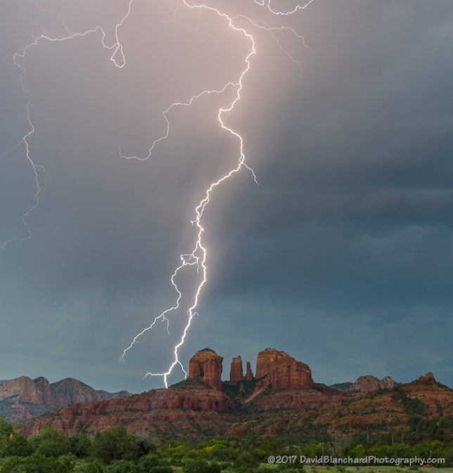 Lightning near Cathedral Rock, Sedona, Arizona.