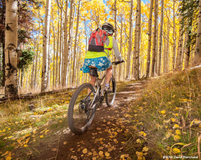 Mountain biking on Inner Basin Trail in 2014 (10/14/2014).