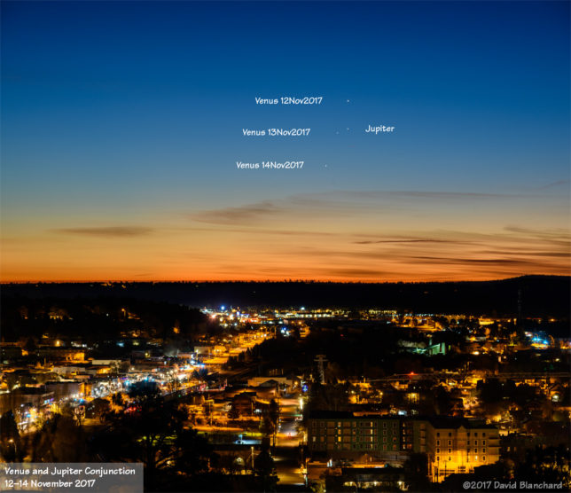Conjunction of Venus and Jupiter in the morning sky.