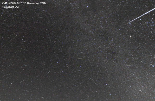 Composite image showing several Geminid meteors.